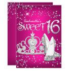 Hot Pink Glitter Tiara Heels Sweet 16 Invite