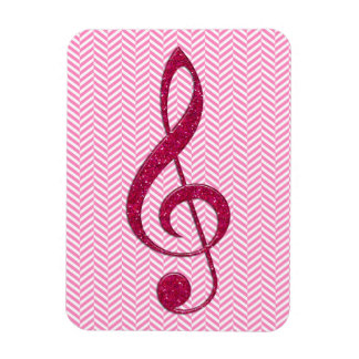 Hot Pink Glitter Treble Clef on Pink Chevron Rectangle Magnets