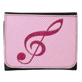 Hot Pink Glitter Treble Clef on Pink Chevron Wallets