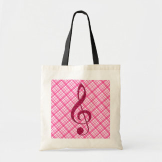 Hot Pink Glitter Treble Clef on Pink Plaid Budget Tote Bag