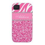 Hot Pink Glitter Zebra Print Rhinestone Girly Case iPhone 4 Covers
