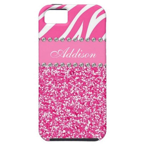 Hot Pink Glitter Zebra Print Rhinestone Girly Case iPhone 5 Cover