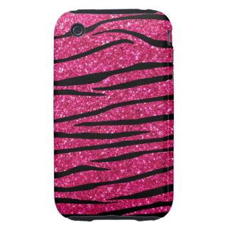 Hot pink glitter zebra stripes tough iPhone 3 cover