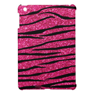 Hot pink glitter zebra stripes iPad mini cases