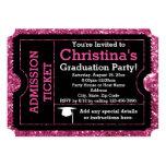 Hot Pink Glitz Graduation Party Ticket Invitation