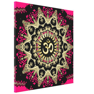 Hot Pink+Gold Aum Mandala New Age Wrapped Canvas Stretched Canvas Print