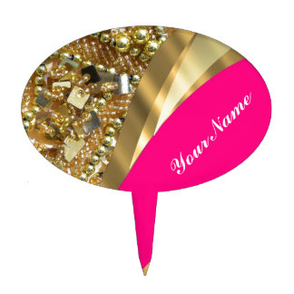 Hot pink & gold bling cake toppers