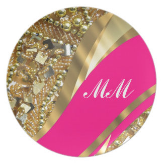 Hot pink & gold bling plate