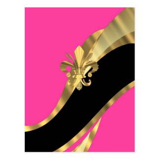 Hot pink & gold fleur de lys post cards