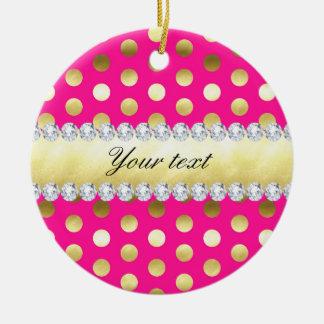 Hot Pink Gold Foil Polka Dots Diamonds Christmas Ornament