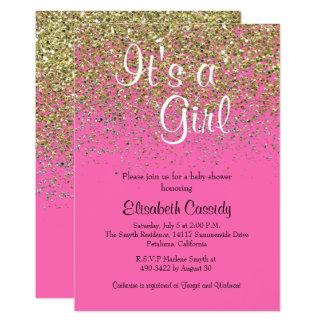 Hot Pink & Gold Glitter  Baby Shower Invite