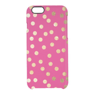 Hot Pink Gold Glitter Dots Clear Phone Case