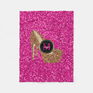 Hot Pink Gold Glitter High Heels Shoes Monogram Fleece Blanket