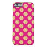 Hot Pink Gold Glitter Polka Dots Pattern