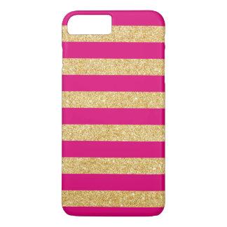 Hot Pink Gold Glitter Stripes iPhone 7 Plus Case
