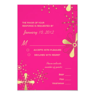 Hot Pink & Gold Indian Inspired RSVP Meal Options 9 Cm X 13 Cm Invitation Card