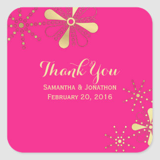Hot Pink & Gold Indian Inspired Thank You Square Sticker