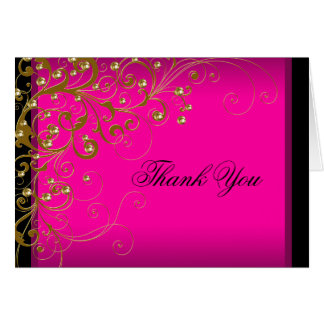 Hot Pink Gold Thank You Cards