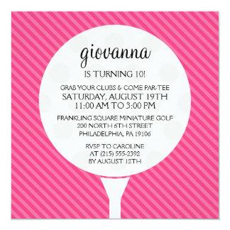 Hot Pink Golf Ball Miniature Golf Birthday Party 13 Cm X 13 Cm Square Invitation Card