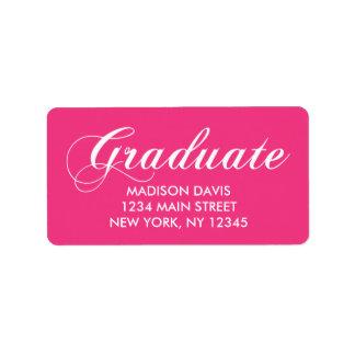 Hot Pink Graduation Address Labels