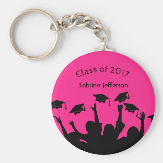 Hot Pink Graduation Cap and Gown Cap Toss Keychain
