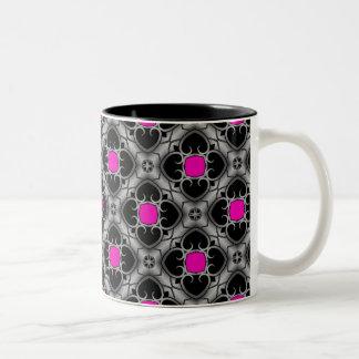 Hot pink, gray, and black elegant medieval pattern Two-Tone mug