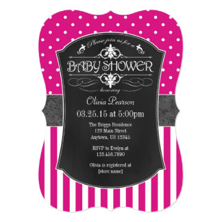 Hot Pink Gray Chalkboard Stripes Baby Shower 13 Cm X 18 Cm Invitation Card