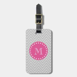 Hot Pink, Gray Chevron   Your Monogram Bag Tags