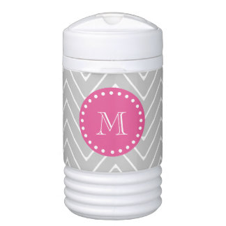 Hot Pink, Gray Chevron | Your Monogram Drinks Cooler