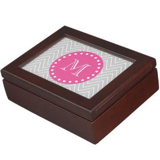 Hot Pink, Gray Chevron   Your Monogram Keepsake Box