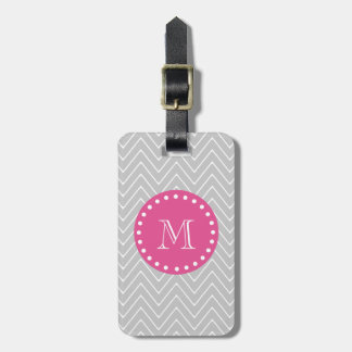 Hot Pink, Gray Chevron | Your Monogram Luggage Tag