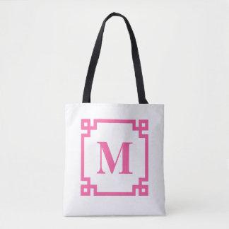 Hot Pink Greek Key Border Custom Monogram Tote Bag