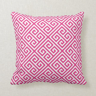 Hot Pink Greek Key Pattern Cushion