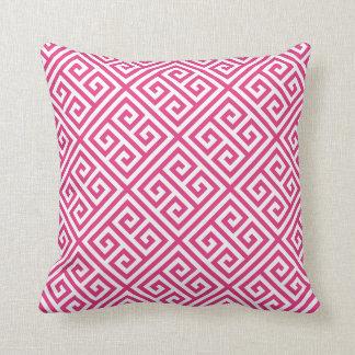 Hot Pink Greek Key Pattern Throw Pillow