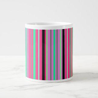 Hot pink green and black stripes jumbo mug