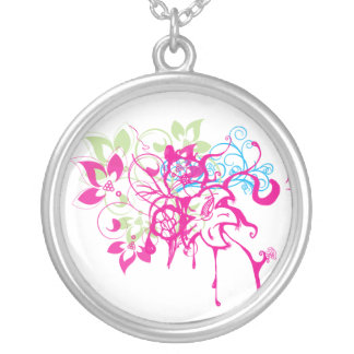 Hot Pink Green Aqua Flowers Abstract Drips Art Round Pendant Necklace