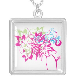 Hot Pink Green Aqua Flowers Abstract Drips Art Square Pendant Necklace