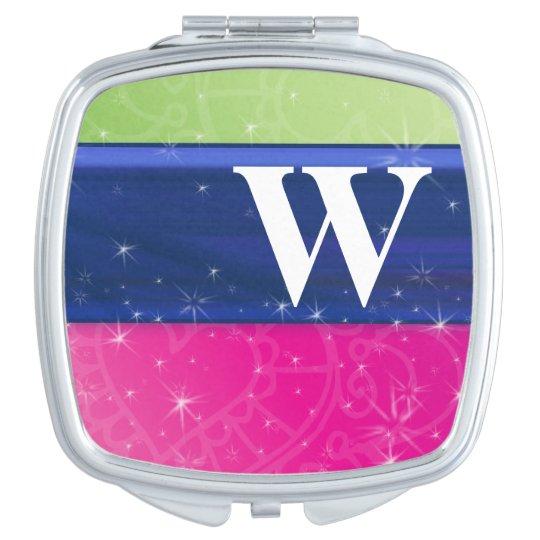 Hot Pink Green Blue 80s Colours Glitter Monogram