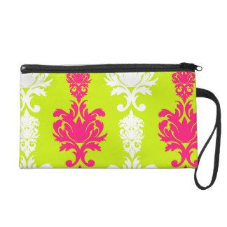 Hot pink & green neon damask floral retro pattern wristlet purses