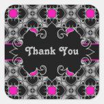 Hot pink, grey, and black elegant mediaeval square stickers