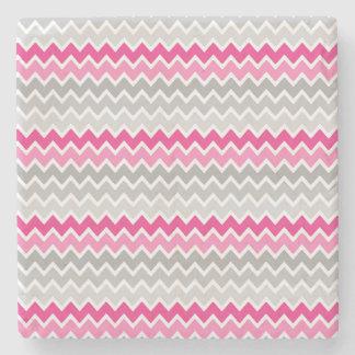 Hot Pink Grey Gray Ombre Chevron Zigzag Pattern Stone Coaster