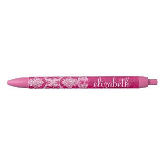 Hot Pink Grunge Damask Pattern Custom Monogram Black Ink Pen