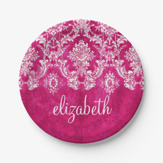 Hot Pink Grunge Damask Pattern Custom Text 7 Inch Paper Plate