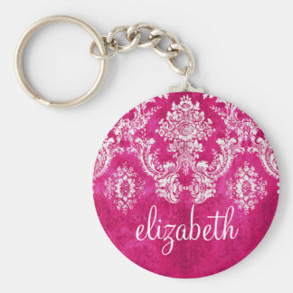 Hot Pink Grunge Damask Pattern Custom Text Basic Round Button Key Ring