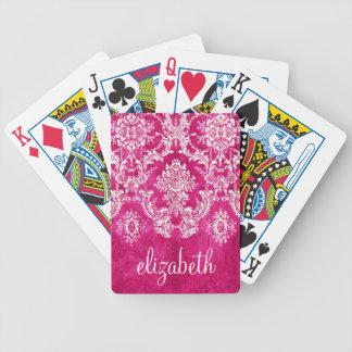 Hot Pink Grunge Damask Pattern Custom Text Bicycle Playing Cards