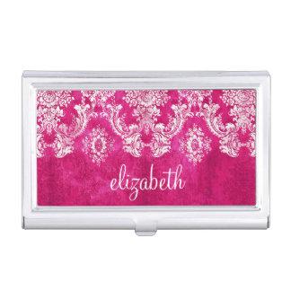 Hot Pink Grunge Damask Pattern Custom Text Business Card Holder
