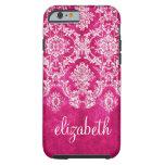 Hot Pink Grunge Damask Pattern Custom Text Tough iPhone 6 Case