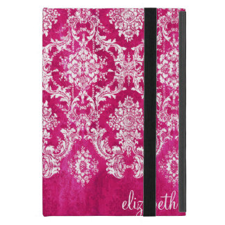 Hot Pink Grunge Damask Pattern Custom Text Cover For iPad Mini