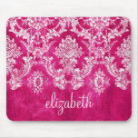 Hot Pink Grunge Damask Pattern Custom Text Mouse Pad