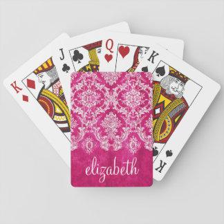Hot Pink Grunge Damask Pattern Custom Text Playing Cards